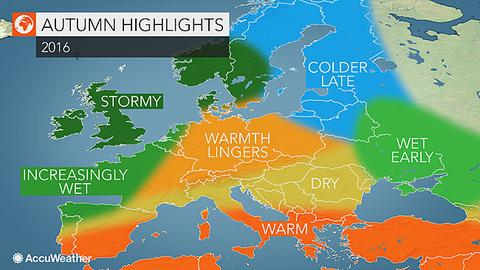 europe autumn weather forecast